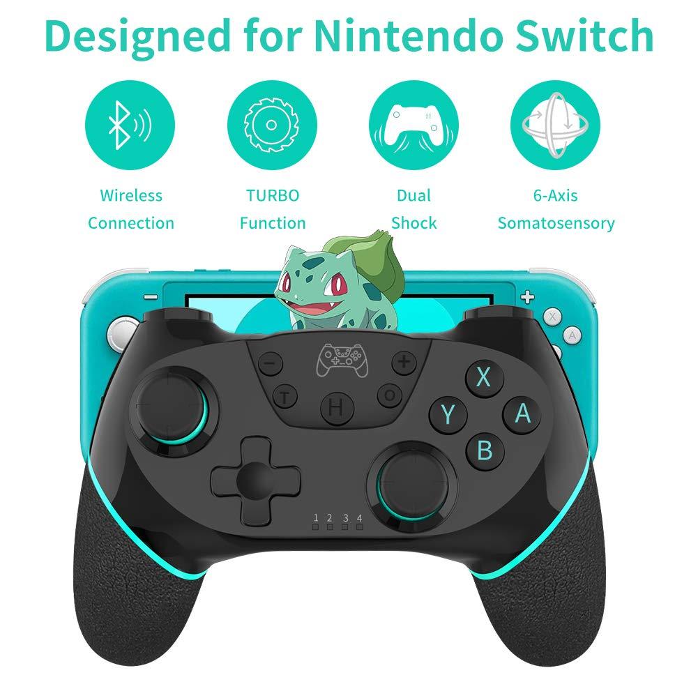 Mando para Nintendo Switch,RegeMoudal Bluetooth Wireless Pro Controller Inalámbrico Switch Pro Controlador Gamepad Joypad para Nintendo Switch/ Switch Lite Doble Vibración 6 Gyro Axis Turbo Función: Amazon.es: Videojuegos