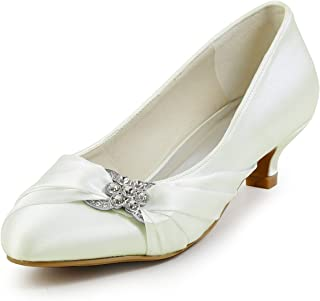 JIAJIA 0112A Women's Bridal Shoes Closed Toe Low Heel Comfort Satin Pumps Crystal Wedding Shoes
