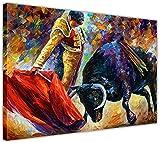 Lucha de toro español y matador de Leonid Afremov en la lona enmarcada en la lista de lienzos enmarcados Nuevas imágenes de pared Resumen Tamaño del arte moderno: 40 'x 30' 101cm x 76cm