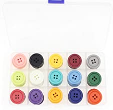 Leekayer 1Inch (25mm) Sewing Flatback Resin Buttons for DIY Craft 15 Colors Multi Pack of 90 with Box (Each Color 6 pcs)