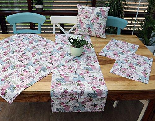 heimtexland Shabby Chic Kissenhülle in Natur rosa 50x50 cm 100% Baumwolle französischer Landhaus mit Rosen passende Varianten als Tisch Set Kissen Typ293
