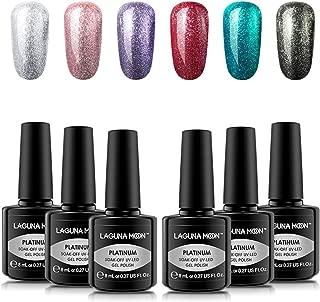 Lagunamoon Platinum Gel Nail Polish Kit Soak Off UV LED Gel Polish Varnish Lacquer Beauty Salon Manicure Nail Art Set 8ML 6PCS