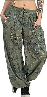 QiFei hippiebroek voor dames, harembroek, boho, patroon, gesmokte taille met zakken, vrijetijdsbroek, zomerbroek, yogabroe...