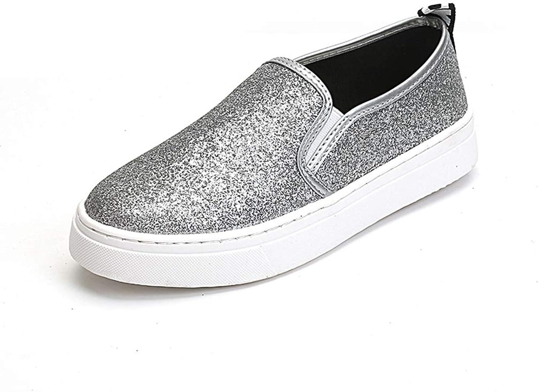 T-JULY Women Loafers Paillette Spring New Womens Sequin shoes Woman Platform shoes Ladies Flats shoes Casual Silver Black