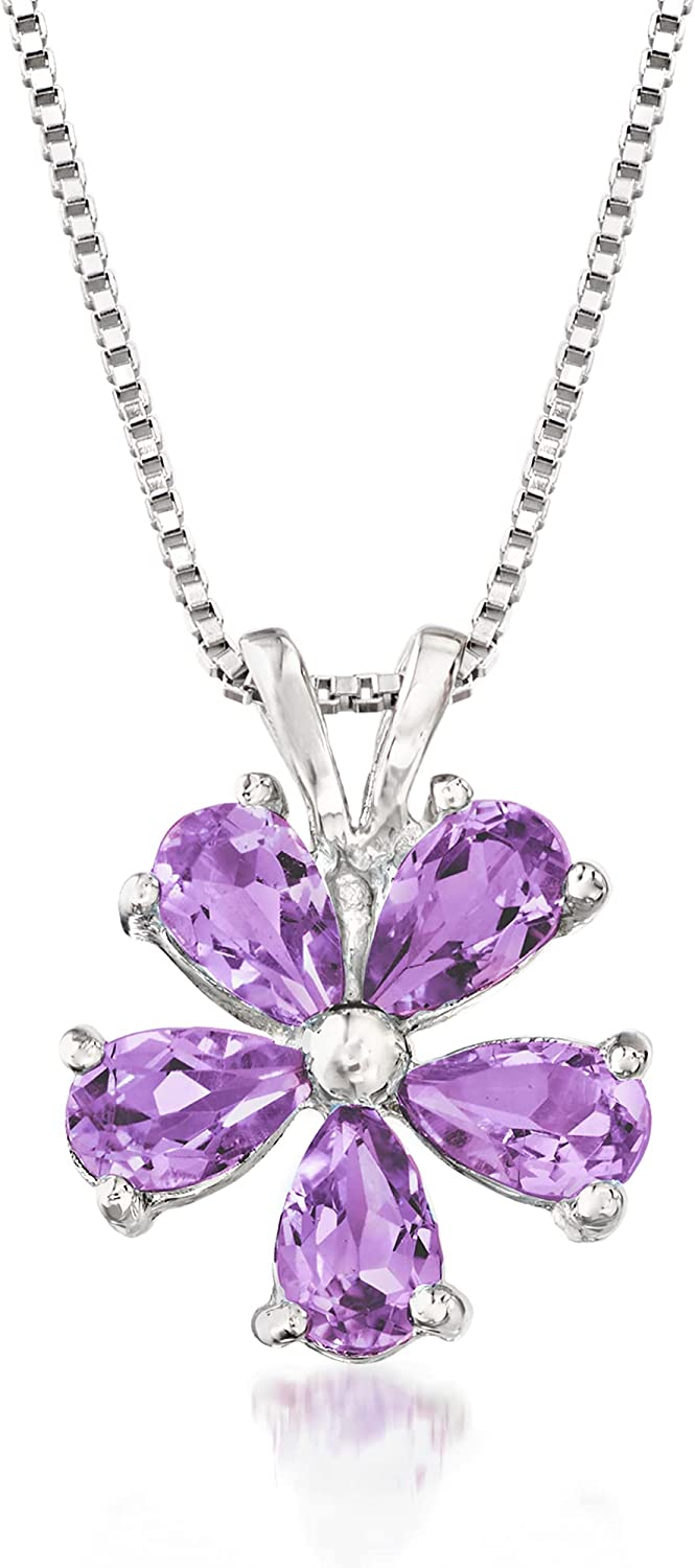Ross-Simons Ranking Dallas Mall TOP17 1.00 ct. t.w. Amethyst Flower Pendant Necklace in St