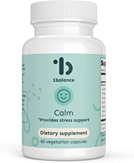 1Balance Calm, Contains 9 Adaptogenic Ayurvedic Herbs Including Bacopa, Velvet Bean, and Jatamansi, Provides Stress and Mo...