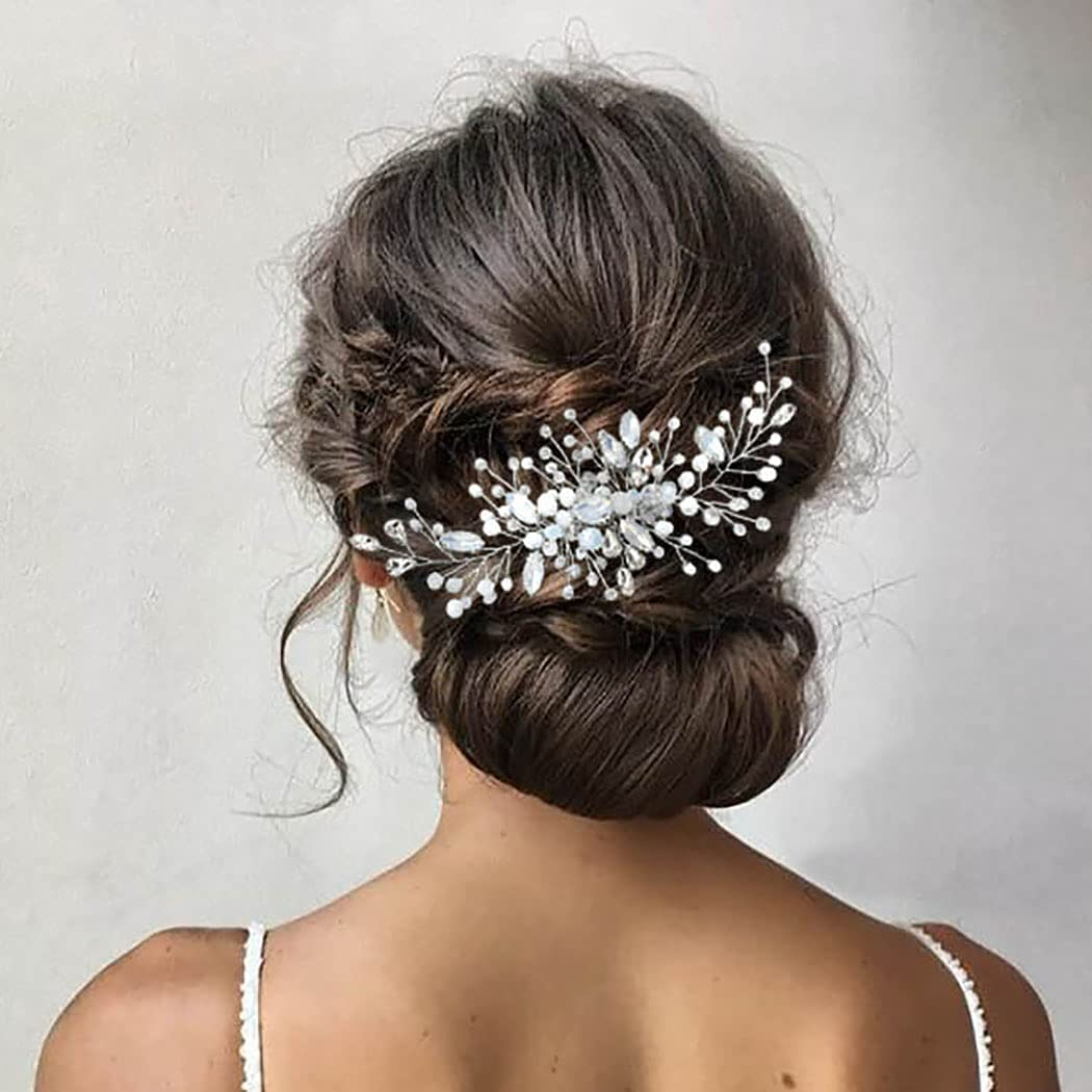 Zoestar Peines para el pelo de boda con cristales de imitación plateados, accesorios para el cabello para mujeres y niñas