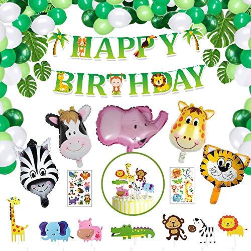 Geburtstagsdeko für Jungen Mädchen Kinder, NOCHME 65 STK Dschungel-Safari-Thema Geburtstag Deko Happy Birthday Girlande Tier-Folienballon Geburtstagsdekoration Kindergeburtstag Party Dekoration, Grün