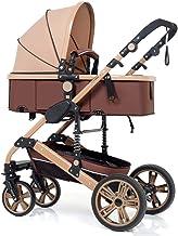 YXCKG Sistema de Viaje con cochecitos Infantiles con antichoque Springs recién Nacido Silla de Bebe Cochecito Ajustable de Alta Vista Jogger Travel Cochecitos de niño con Errores (Color : Brown)