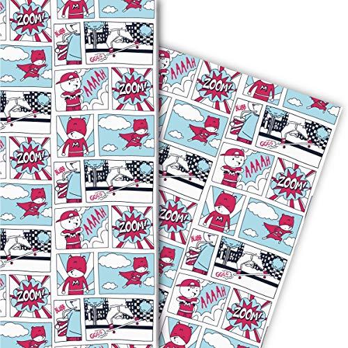Kartenkaufrausch Cooles Helden Geschenkpapier Set im Comic Heft Stil für liebevolle Geschenk Verpackung 32 x 48cm, 4 Bögen zum Einpacken für Geburtstage, Kinder, Teenager, weiß