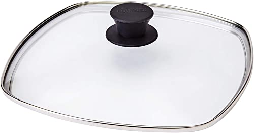 """new arrival Square Glass Lid for Grill Pans - 10.5""""-inch/26.67cm/269mm - Fits Lodge - Fully Assembled - Replacement Cover - Oven online sale Safe Reinforced for Skillets - Universal all Cookware: Cast Iron, new arrival Stainless, Enamel online"""