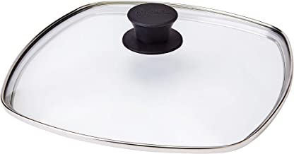 """Square Glass Lid for Grill Pans - 10.5""""-inch/26.67cm/269mm - Fits Lodge - Fully Assembled - Replacement Cover - Oven Safe ..."""
