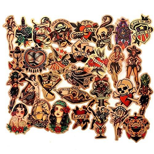 LVLUO Vintage Beauty Tattoo Color Old Paste Maleta Casco Coche eléctrico Impermeable...