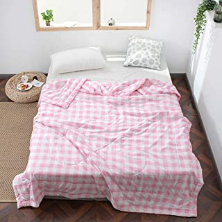 Anjos Japanese Little Pink Plaids Thin Summer Quilt Comforters Quilting Stitching Bedspread Blanket Polyester Material Microfiber Filler (Full78x90inch)