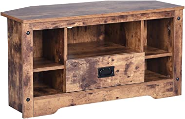 GreenForest TV Stand, 35.4'' Vintage TV Console Entertainment Center Cabinet with Drawer for Living Room Bedroom, Walnut