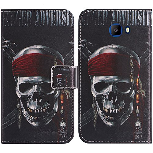 TienJueShi Skull Book-Style Flip Leather Protector Case Cover Skin Etui Wallet for Elephone S8 6 inch