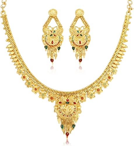 Graceful 24 Carat Gold Plated Wedding Jewellery Necklace Set For Women N73752
