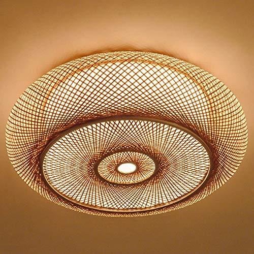 XDDJJZHX Linterna Redonda de Mimbre de bambú Tejida a Mano, lámpara de Techo, lámpara rústica asiática, Dormitorio, Sala de Estar