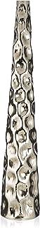 Boho Traders Aluminium Pebble Hammer Round Tall Taper Vase, Silver