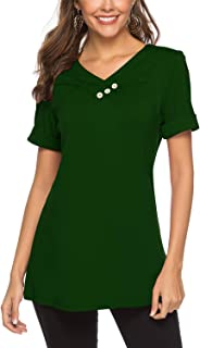 Womens Short Sleeve Tops Casual Tshirt Tunic V Neck Button Blouse