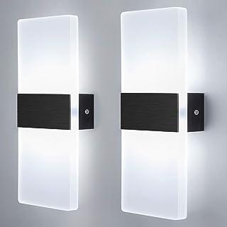 Glighone Apliques de Pared Interior 2pcs Lámpara de Pared Moderno 12W Lámpara de Pared Negro Cepillado Iluminación Luz Interior para Salon Dormitorio Pasillo Escalera, Blanco Frio
