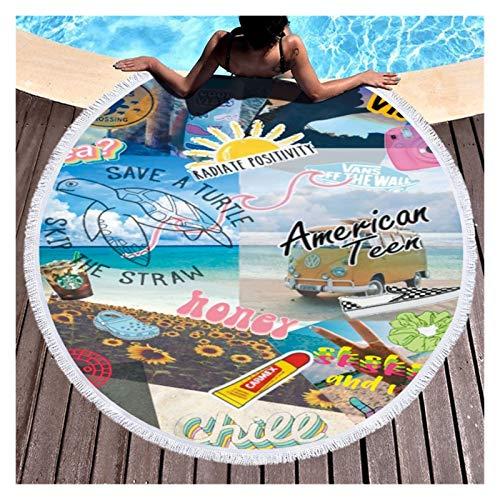Toalla de playa Toalla de baño grande para las mujeres para la playa gruesa redonda Dreamcatcher impreso playa tela de toalla de playa rápida toalla comprimida tapiz tapete de yoga Para playa, decorac