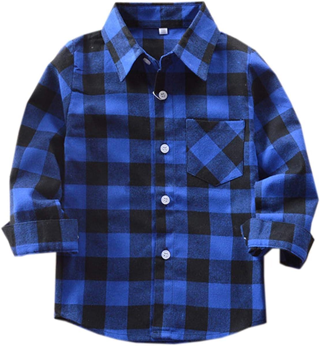 Betusline Boys' Button Down Plaid Shirt
