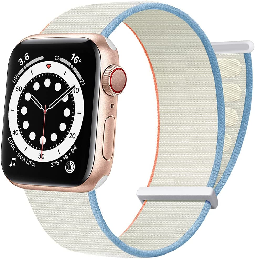 AdMaster Sport Nylon Velcro Band Compatible with Apple Watch 38mm 40mm 41mm, Adjustable Breathable Woven Men Women Braided Loop Strap Compatible for iWatch Series 7/6/5/4/3/2/1 SE 38/40/41 mm Cream