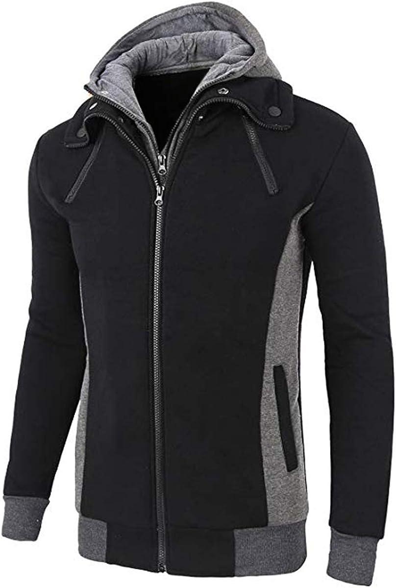 LOCALMODE Men's Las Vegas Mall New item Double Zipper Hooded Turtleneck Ho Fleece Jacket