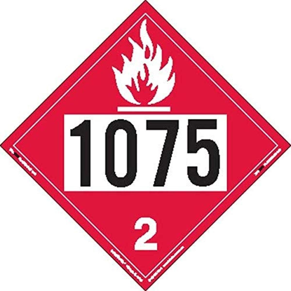 Labelmaster ZT8-1075 UN 1075 Flammable Tagbo Placard Gas Hazmat Great Detroit Mall interest