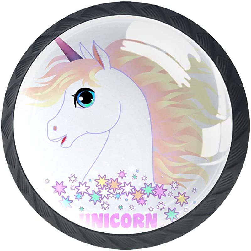 Cartoon Cute Unicorn 02 Drawer Handle Crystal Glass Furniture Round Knobs For Kid S Gift To D Cor Kids Room Best Home D Cor For Cabinet Cupboard Dresser 1 38 X 1 1 In Pack Of 4