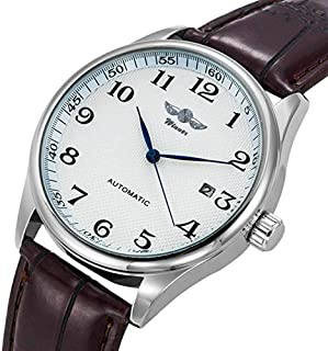 Automatic Mechanical Watch Men's Self-Wind Watch White Dial Analog Casual Brown Leather