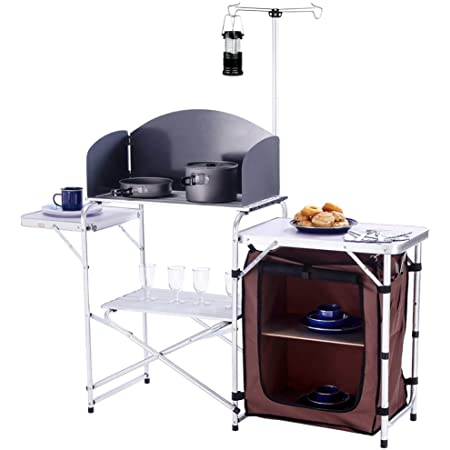 Folding Kitchen Stand Storage Unit Portable Camping Cooking