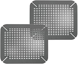 mDesign Adjustable Kitchen Sink Dish Drying Mat/Grid - Plastic Sink Protector - Cushions Sinks, Stemware, Wine Glasses, Mugs, Bowls, Dishes - Quick Draining, Contours to Sink - 2 Pack - Charcoal Gray