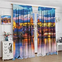 championCEL Travel, Window Curtain Fabric, Evening in The Prague Czech Republic St.Vitus Cathedral Historical Architecture, Patterned Drape for Glass Door, Multicolor, 84x84 inch