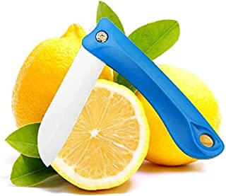 ELSKY 1PCS Kitchen Cutlery-Protable Ultra Sharp Knife,Folding Vegetable Fruit Ceramic Knife with White Blade Use for Cutting/Paring-Foldable & Handy Perfect for Picnics,Camping,Lunchbox