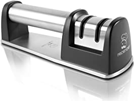 PriorityChef Knife Sharpener for Straight and Serrated Knives, 2-Stage Diamond Coated Wheel System, Sharpens Dull Knives...