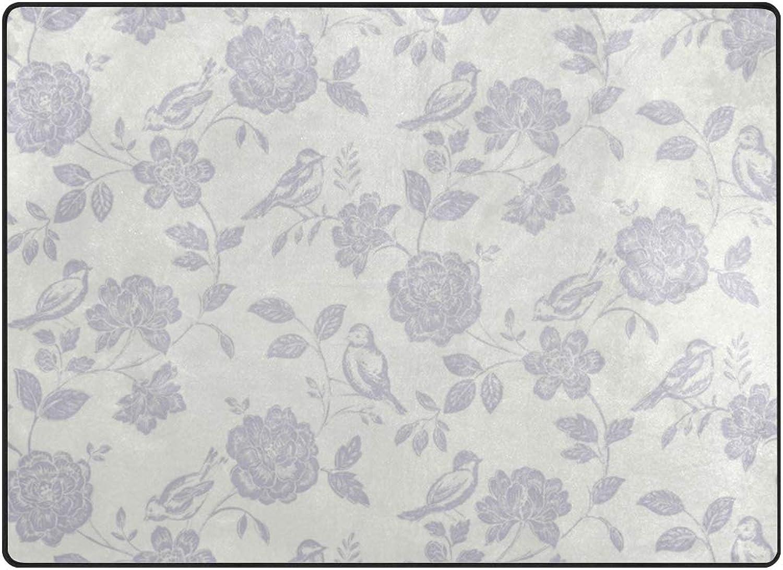 FAJRO Lavender Bird Garden Creamy White Background Rugs for entryway Doormat Area Rug Multipattern Door Mat shoes Scraper Home Dec Anti-Slip Indoor Outdoor