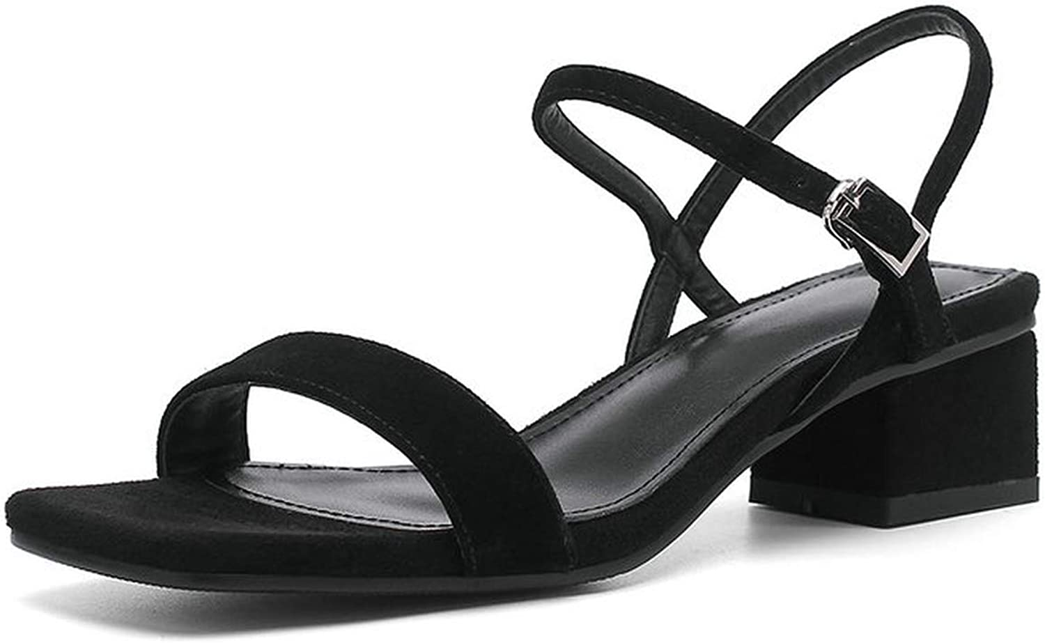 Pretty-Shop sandals Women Sandal Square Middle Heel Kid Suede Square Open-Toed,
