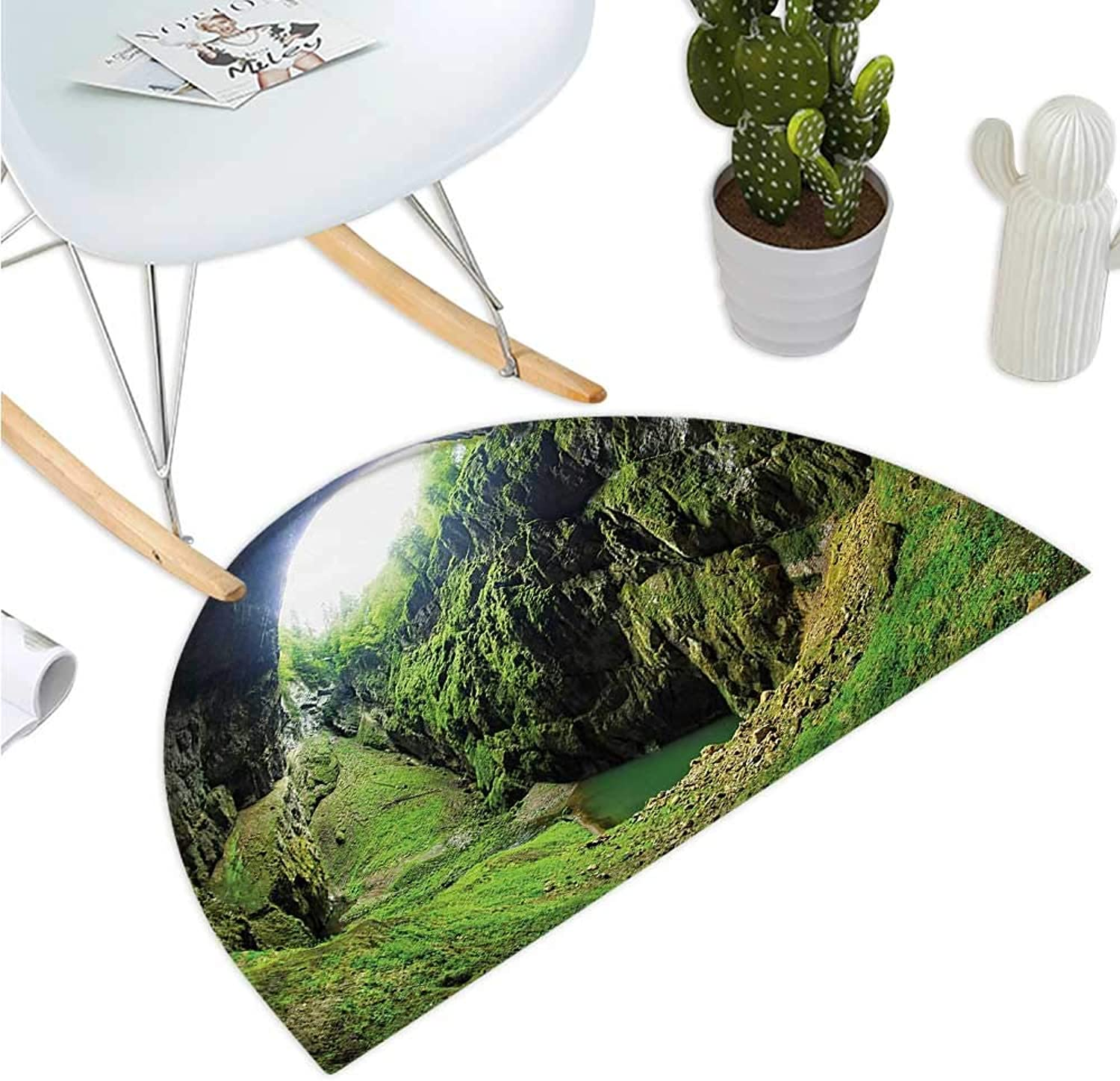 Natural Cave Semicircular Cushion Punkevni Cave in Czech Republic European Geological Formation Myst Hole Landscape Entry Door Mat H 47.2  xD 70.8  Green
