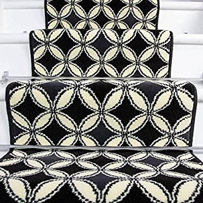 Lima Black White Carpet Tile Design Stair Carpet in 2' - 3' Widths and 1' - 64' Lengths