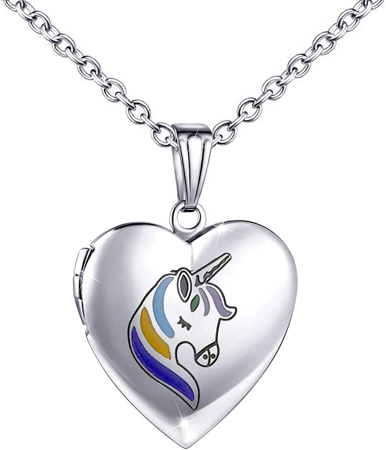 YOUFENG Unicorns Gifts for Girls Love Heart Locket Necklace That Holds Pictures Enamel Locket Pendant Gifts for Women