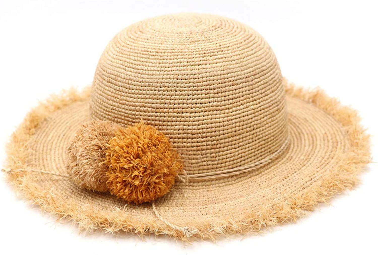 Straw Hat Folding Breathable Spring and Summer Ladies Visor Holiday Leisure Hathat UPF50 UV Predection Straw Hat Women Summer Cap with Cute Hair Ball Hat