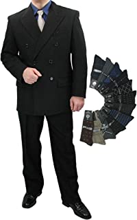 Sharp Hand Tailored 2pc Men Double Breasted Dress Suit w/1 Pair of Socks