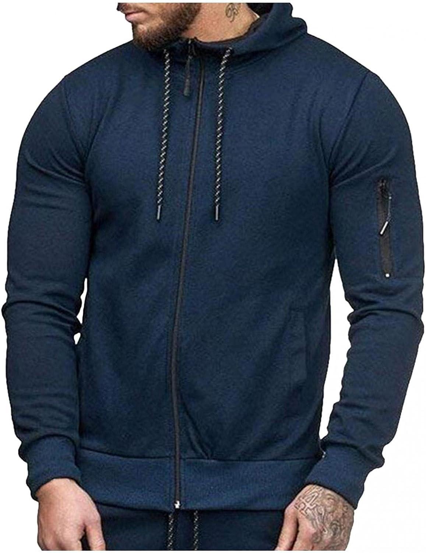 Aayomet Hoodies Sweatshirts for Men Solid Tops Zipper Long Sleeve Athletic Hooded Pullover Blouses Cardigan Coat