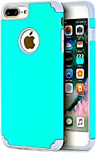 CaseHQ Teal+Grey Extreme Heavy Duty case for iPhone 7 Plus,iPhone 8 Plus, Protective Case soft rubber TPU PC Bumper Anti-Scratch Shockproof Rugged  Protection Cover for apple iPhone 7/8 Plus phone