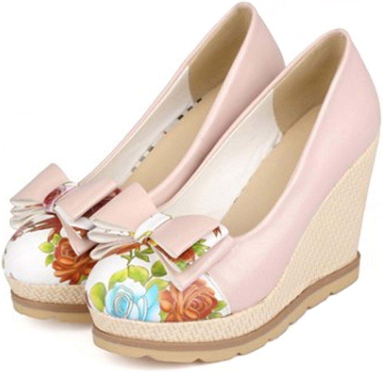 Bowknot Women Thin shoes Chromatic Slipsole High Heel Plus Size pink 39