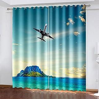 3D高清打印 遮光窗帘 隔音 防寒 隔热 保暖 防紫外线 时尚 悬垂窗帘 2片装 节能 高档布料 客厅卧室用 可机洗-飛行機 264*183cm
