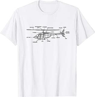 Helicopter T-Shirt Heli Diagram Black Pilot Shirt