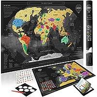Wond3rland Premium Mapamundi Para Rascar + EXTRA Mapa de Europa con Países Delineados | Regalo Lujoso Para Viajeros y Registro de Viajes | GRATIS Juego Completo de Accesorios + eBook de Viajes